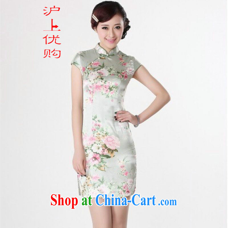 Shanghai, optimize purchase cheongsam dress summer improved retro dresses, for a tight silk hand-painted Chinese improved cheongsam dress short J 5133 green 2 XL recommendations 120 - 130 jack
