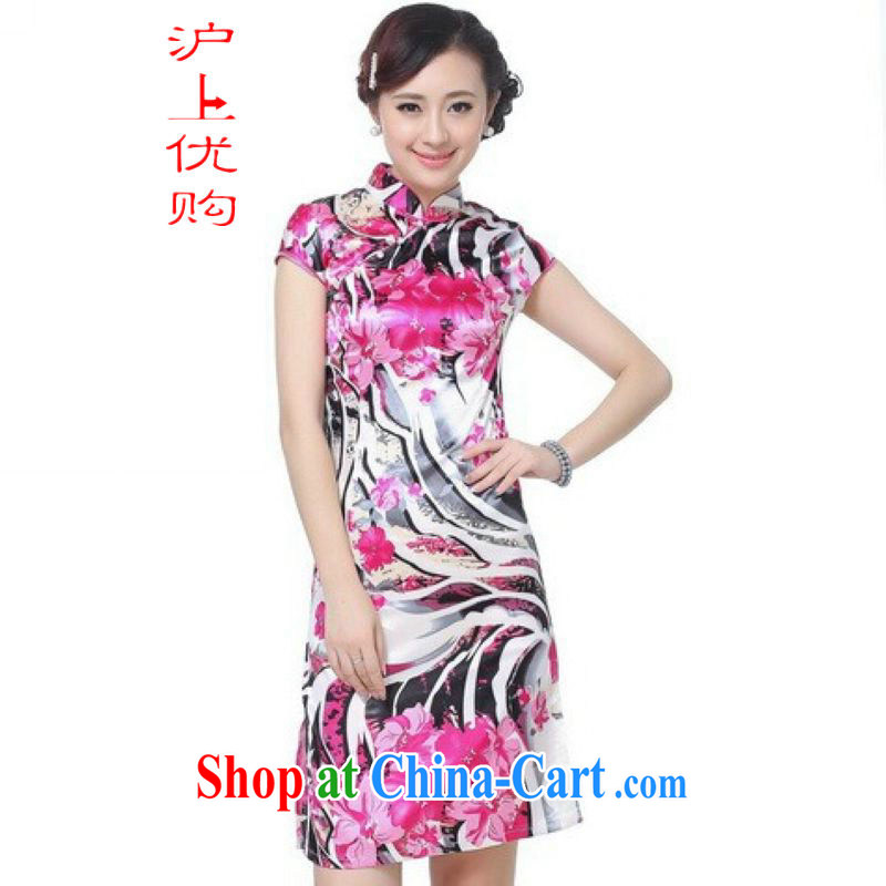 Shanghai, optimize purchase dresses summer improved retro dresses, for a tight silk hand-painted Chinese improved cheongsam dress short white 2XL recommendations 120 - 130 jack