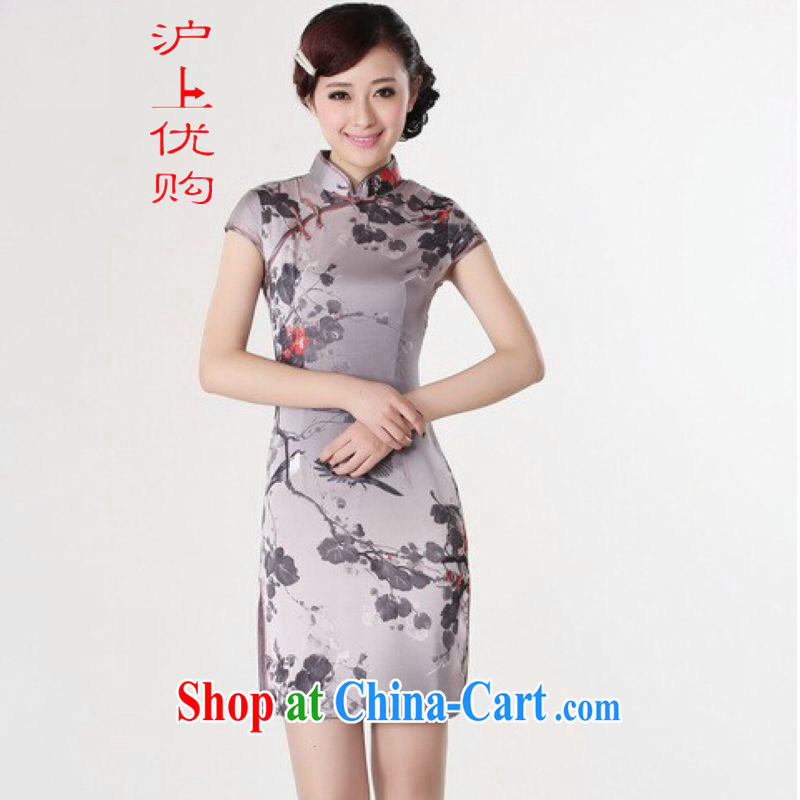 Shanghai, optimize purchase dresses summer improved retro dresses, for a tight silk hand-painted Chinese improved cheongsam dress short gray 2 XL recommendations 120 - 130 jack