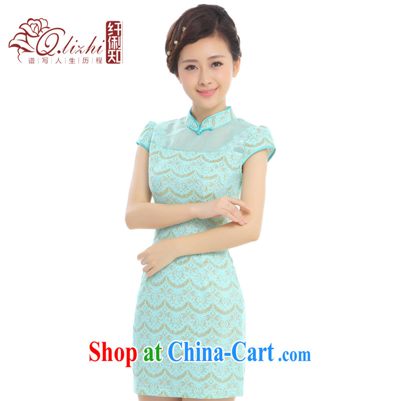 Slim li know Canada and summer 2015 new European root yarn gold thread lace retro improved time cheongsam dress Q H 1 27,103 days Cheong Wa Dae Kim XXL