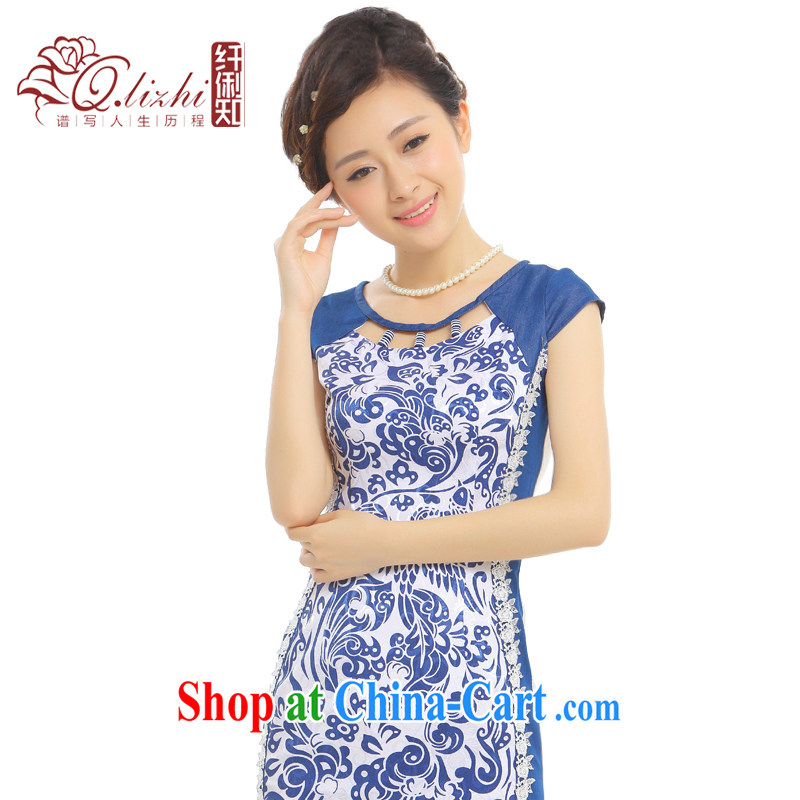Slim li know that Cheong Wa Dae spent stream Summer Scent new improved stylish cowboy stitching antique porcelain was cheongsam dress Q 38,013 blue stream S Hong Kong