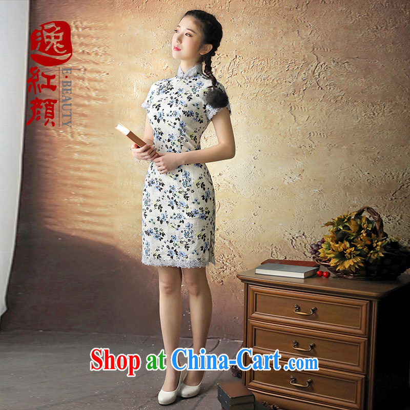 once and for all and take proverbial hero carved lace retro new cheongsam dress 2014 summer skirt outfit improved daily stylish blue 2 XL