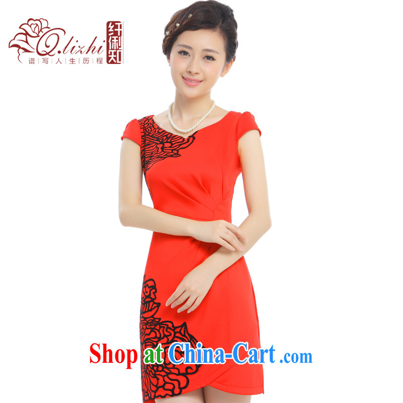 Slim li know dumping fund summer 2015 New China wind bridal short cheongsam dress retro improved cheongsam dress Q A 10 13 - 75 Vermillion red XXL