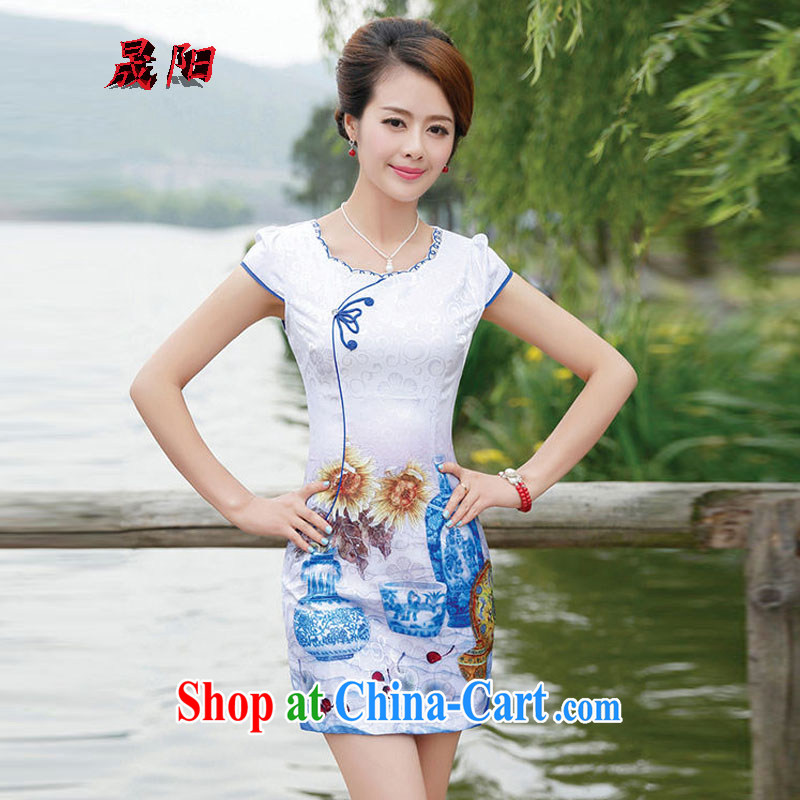 Sung Yang 2015 new summer dresses Korean beauty with half sleeve fine embroidery China wind cheongsam stylish dress flower vase XXL