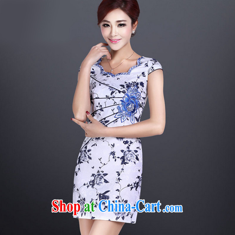 And, in accordance with leyier summer short sleeve cheongsam dress improved cheongsam short, Retro beauty dresses daily dress LYE 8801 Map Color XXL