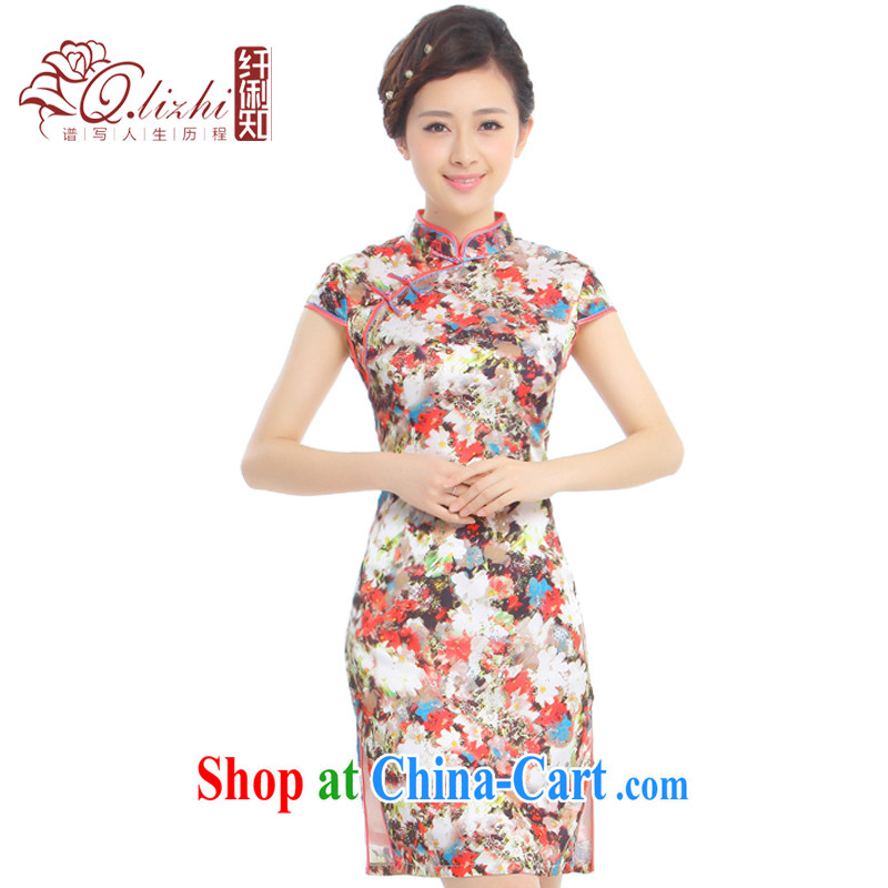 Slim li know Kam Joseph summer 2015 new retro improved elegant Chinese wind power's cheongsam dress skirt Q 43,183 stunning amber XXXL