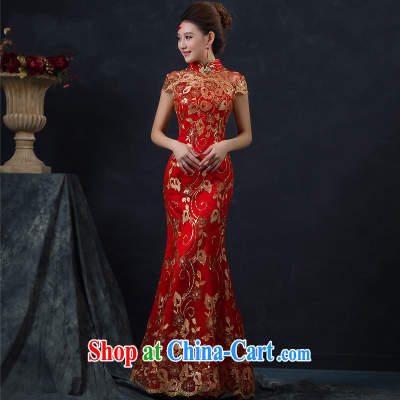 New bridal dresses red wedding toast clothing retro package shoulder-length, improved cheongsam dress, earrings red customer service to size the Do Not Support RMA