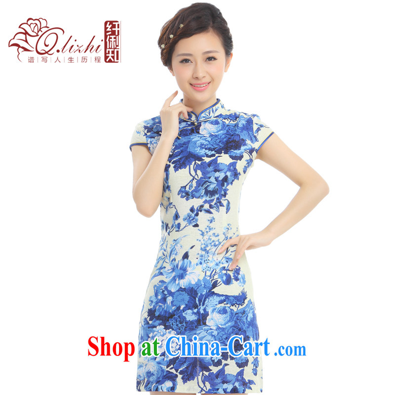 Slim li know prosperity blue summer 2015 new retro improved cheongsam dress China wind cotton the cheongsam dress Q 62,391 - 5 blue blue XXL