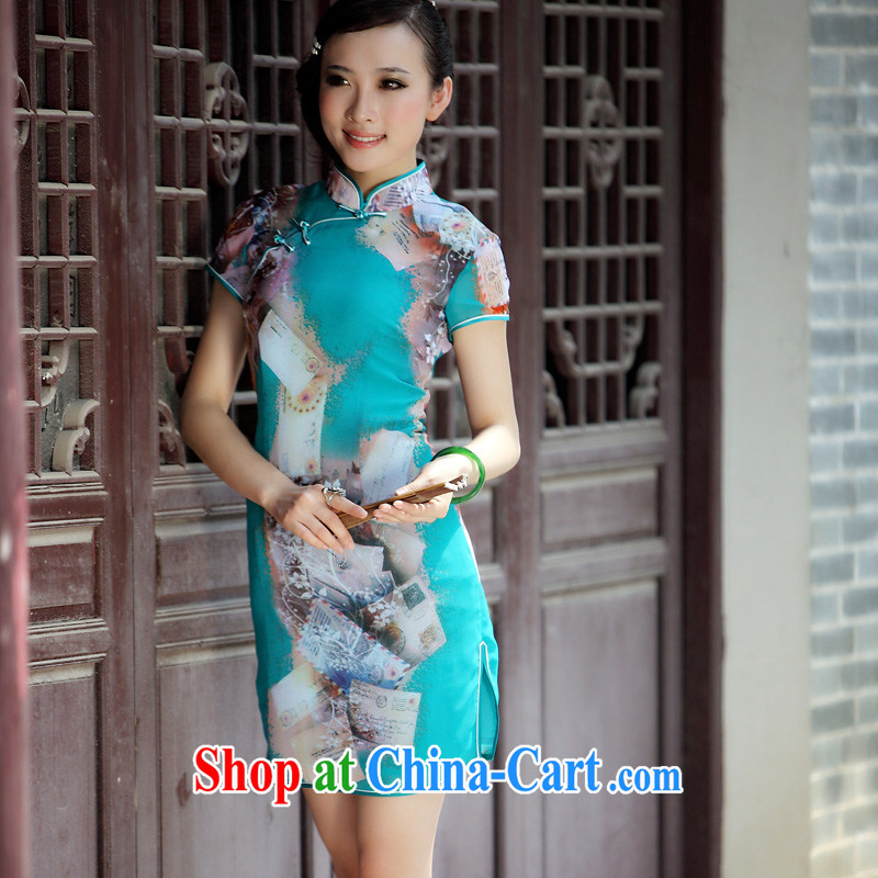 Birds love the flick take Yoo lightweight stylish improved Chinese qipao QD 039 green XXL