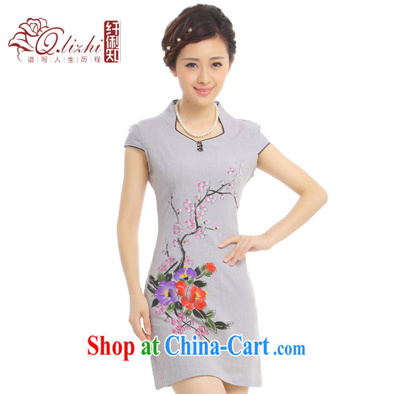 Slim li know misconvergence dyed summer 2015 New China wind retro elegant cotton Ma short cheongsam dress Q 62,396 - 2 glass gray XXL
