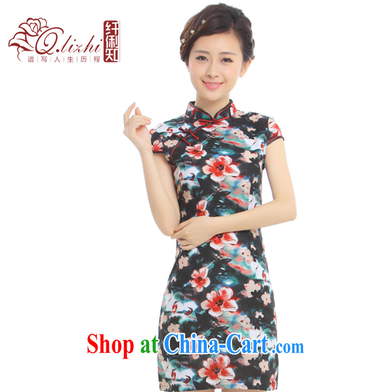 Slim li know Meng 2015 summer new cotton the comfortable daily short cheongsam dress retro improved Q 62,391 - 1 Meng flowers XXL