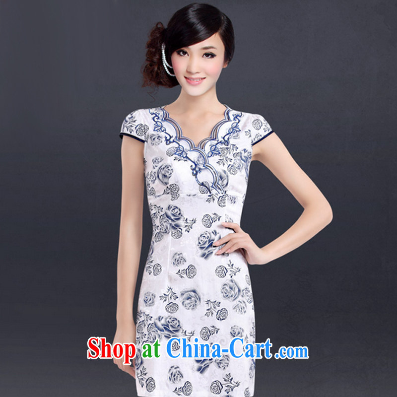 And, according to Cheong Wa Dae take Mrs girl cheongsam dress improved stylish embroidered daily sexy cheongsam Chinese Antique female LYE 7012 Blue on white flower XXL