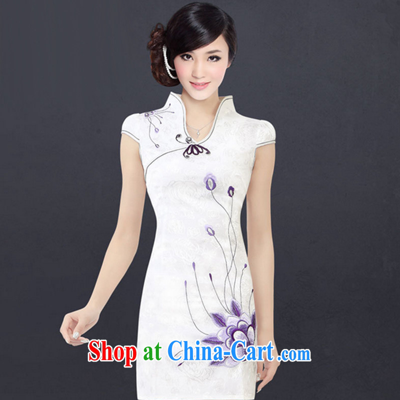 And, according to Mr Ronald ARCULLI cheongsam embroidered short sleeves cultivating improved cheongsam sepia landscape cheongsam dress female LYE 1301 white M