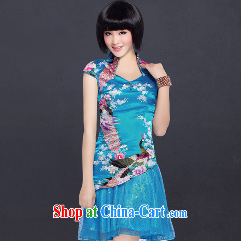 And, in accordance with lace skirt stylish cultivating short-sleeved qipao improved Chinese antique dresses LYE 1221 blue L