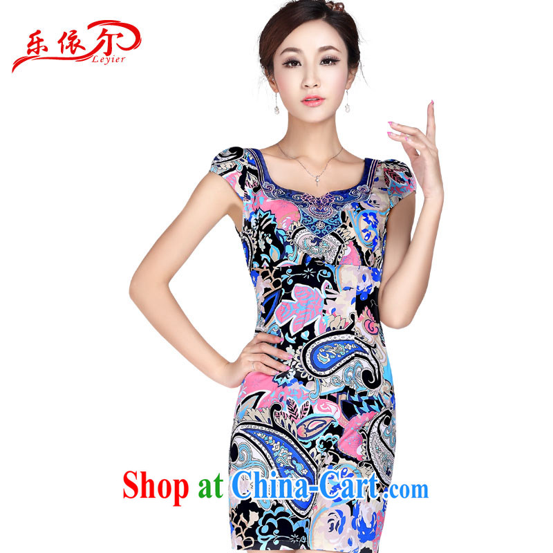 Music in stylish and sexy beauty cheongsam dress improved cheongsam short video thin retro floral elegant LYE 1369 fancy XL