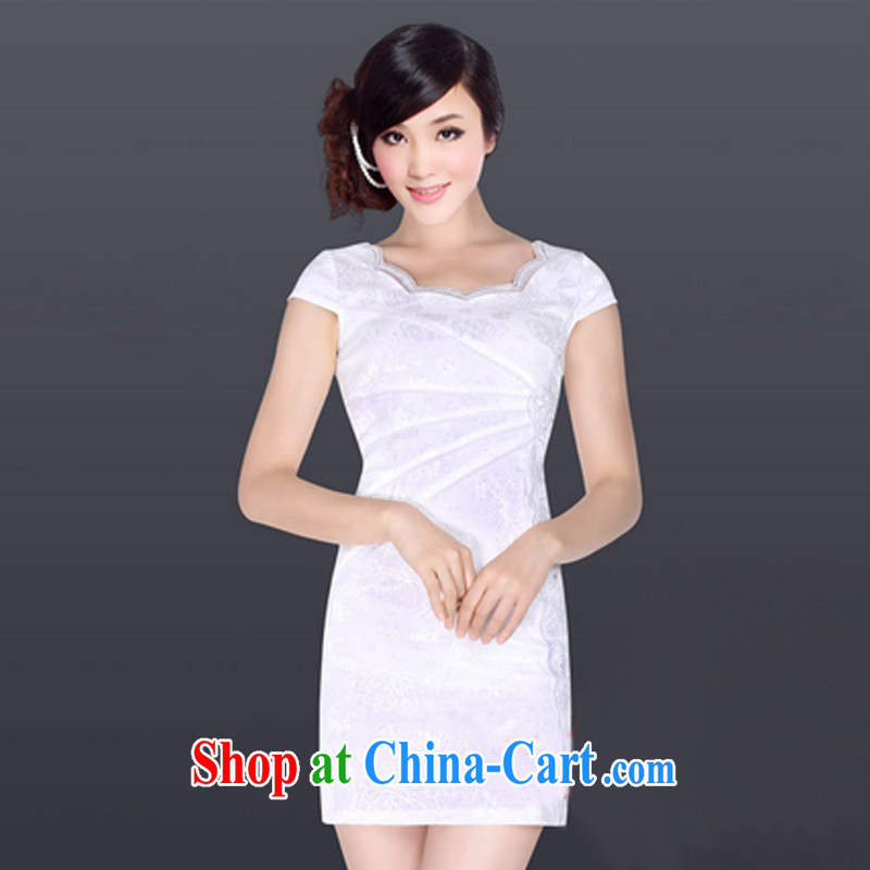And, in accordance with modern cheongsam dress daily retro elegant personalized beauty cheongsam dress LYE 1338 white XL