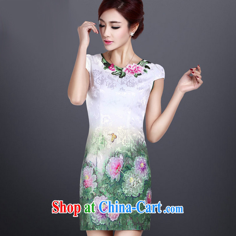 And, in accordance with elegant embroidered dresses cheongsam dress female beauty, long dresses and stylish sexy retro LYE 1401 white M