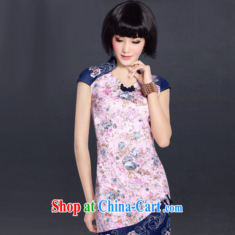 And, in accordance with stylish summer short-sleeved improved daily dresses stamp National wind Chinese Dress LYE 5098 pink L