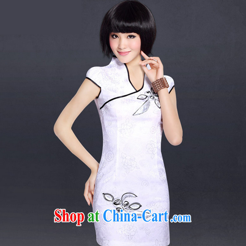 And, according to summer stylish stamp short sleeve cheongsam improved Chinese Antique stamp duty cultivating cheongsam LYE 5076 white XXL