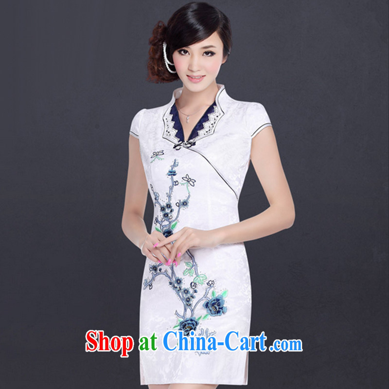 And, in accordance with the summer wind antique stamp improved stylish dresses small lapel painting dresses LYE 1357 white XXL