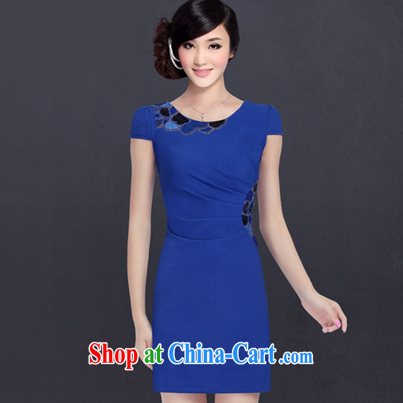 And, in accordance with improved modern cheongsam dress summer embroidery daily lady cheongsam dress LYE 1359 blue L