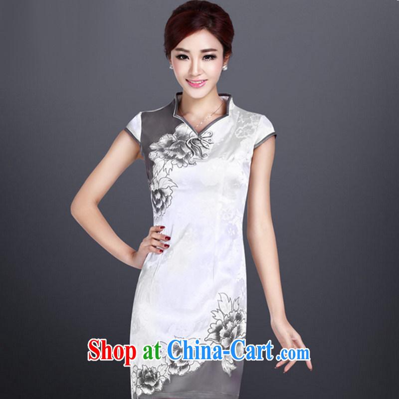 Music in summer hand-painted dresses skirts girls embroidery improved cheongsam short daily retro dresses LYE 8803 white XXL