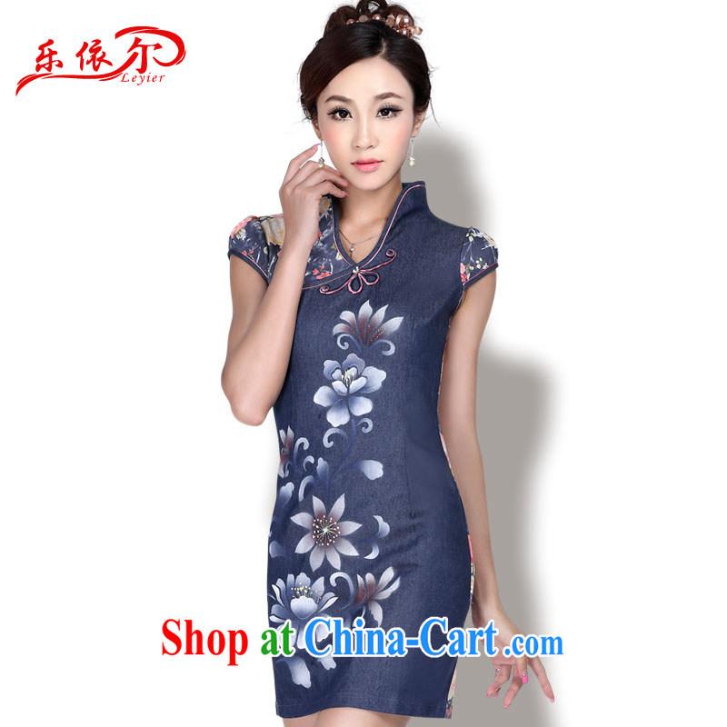 Music in summer short dresses stylish women cheongsam dress dress Chinese antique dresses LYE 1711 dark blue XXL