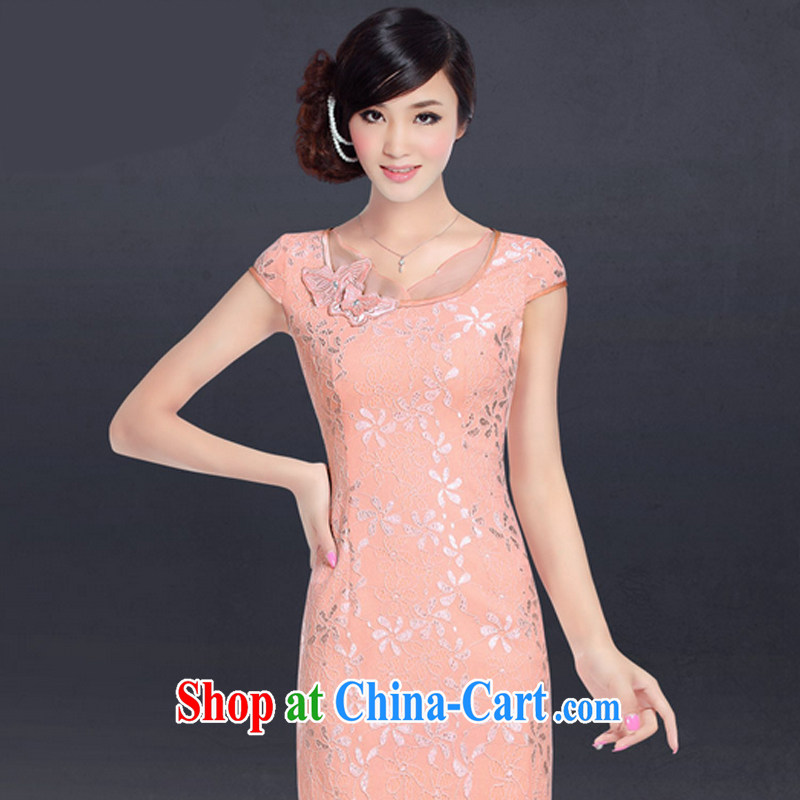 And, in accordance with lace-style beauty cheongsam dress summer day embroidered bride toast with serving the doors LYE 1347 pink XXL