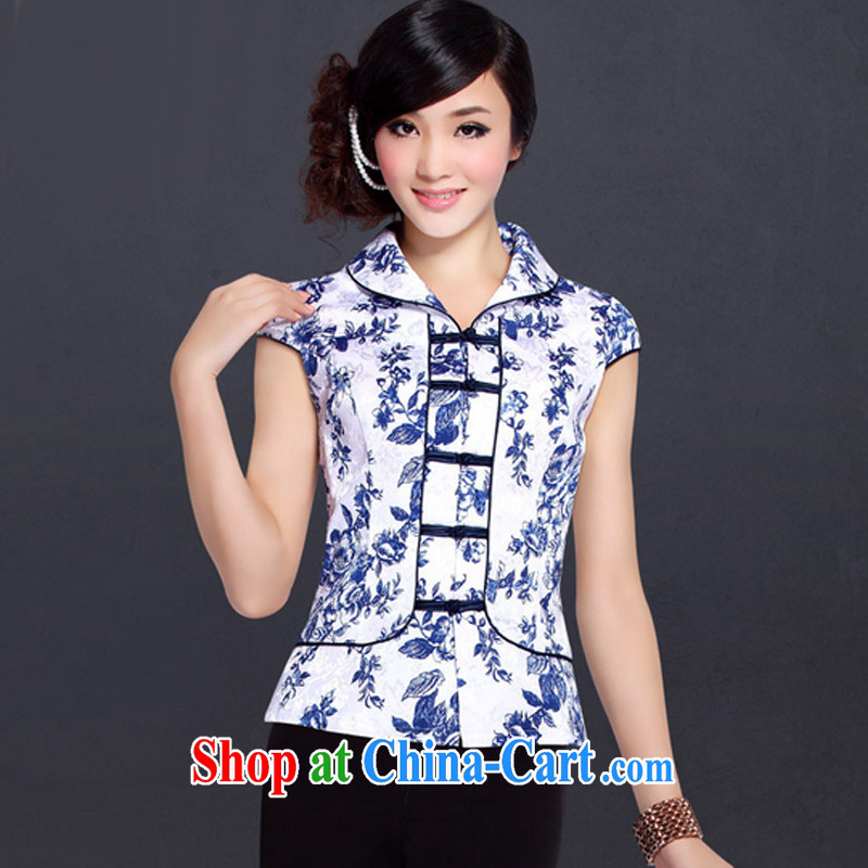 And, according to Mr Ronald ARCULLI blue and white porcelain Chinese package improved short-sleeved flouncing for chest, women detained Tang replace LYE 1292 short-sleeved blue and white porcelain Kit XL