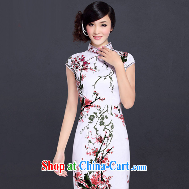 And, in accordance with the classical deduction for the cheongsam dress improved stylish summer Chinese beauty, elegant qipao LYE 1393 white Phillips XXL