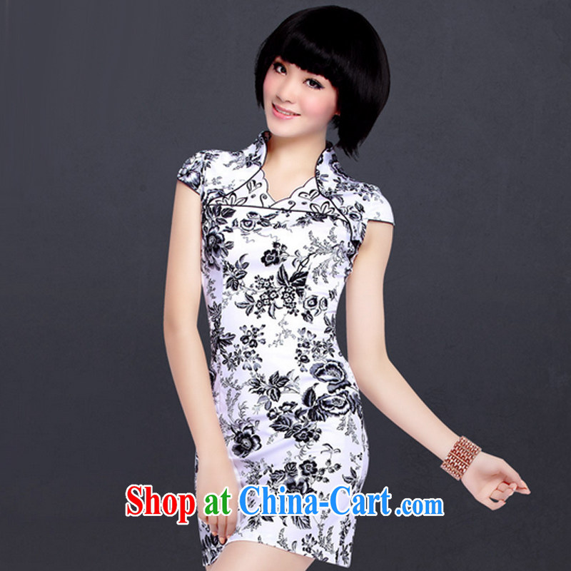 And, in accordance with daily stamp cultivating cheongsam dress improved stylish Chinese Antique white dresses female LYE 1201 white black flower XXL