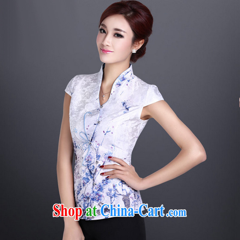 And, in accordance with Chinese Ethnic Wind retro elegant personalized improved short-sleeve Tang replace LYE 1366 white shirt XXL