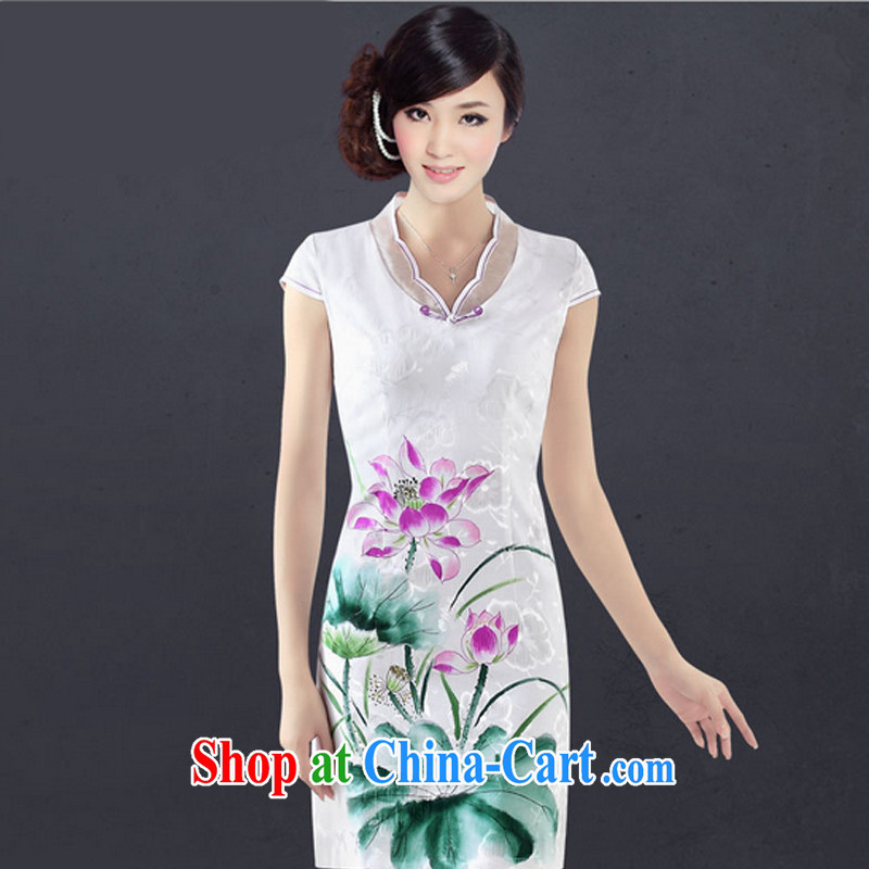 And, in accordance with the hand painted sexy cheongsam dress improved stylish Chinese Antique daily elegant qipao dress girls summer 1307 LYE white XL