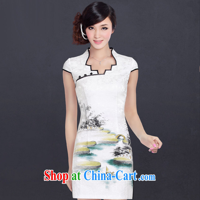 And, in accordance with Chinese Antique hand-painted short-sleeved cheongsam dress improved stylish everyday dresses skirts female LYE 1701 white M