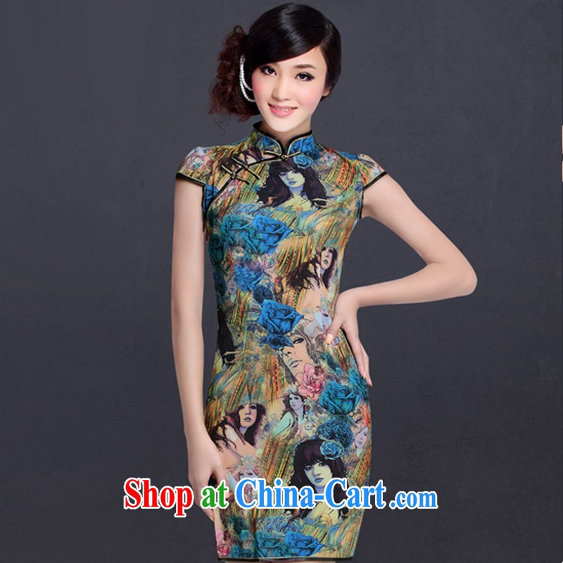 And, in accordance with Chinese Antique improved stylish everyday robes-Lao Shen cheongsam dress LYE 1306 blue XXL