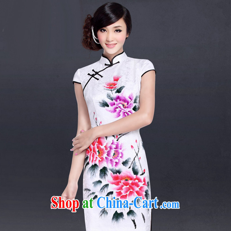 And, in accordance with the lead hand-painted low-power's cheongsam dress improved Stylish Girl cheongsam daily retro LYE 1703 white XXL
