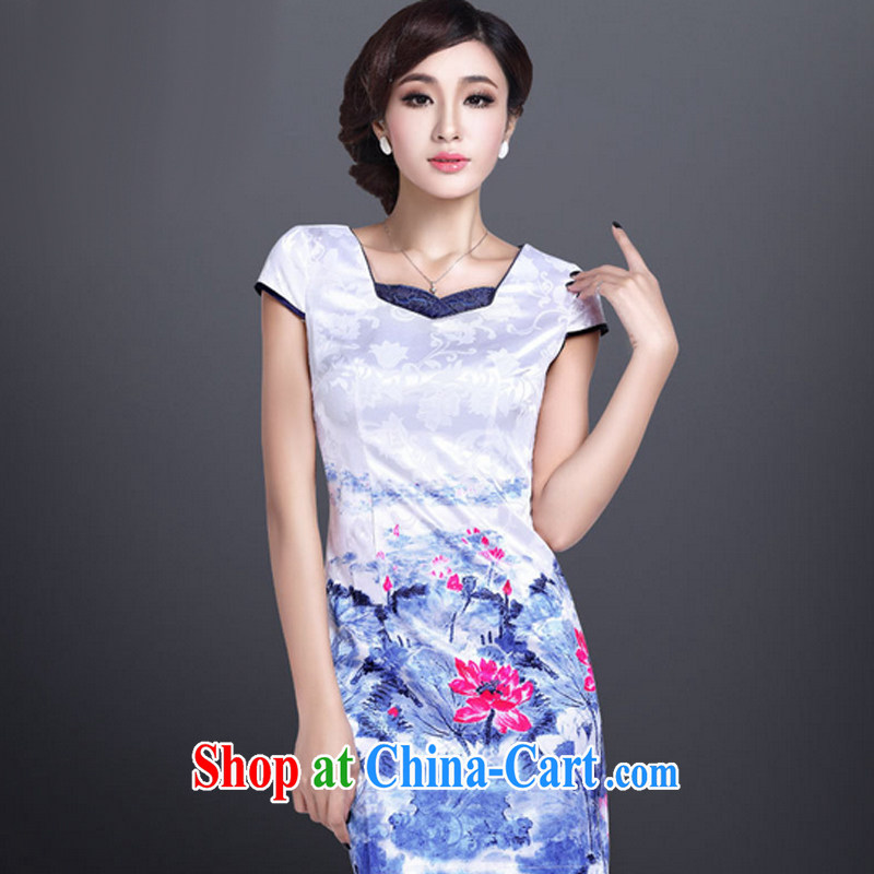 And, in accordance with a hand-painted cheongsam dress elegant sense of improved cheongsam short beauty graphics thin retro LYE 1367 white XXL