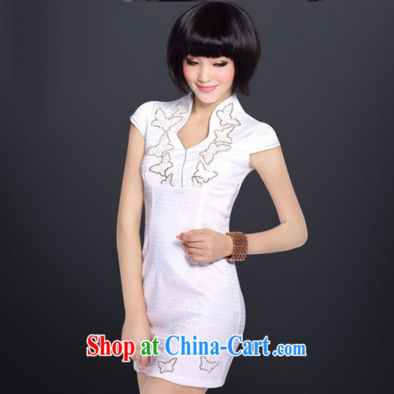 And, according to dress stylish Chinese daily retro improved cheongsam dress embroidered cheongsam LYE 5110 white XL