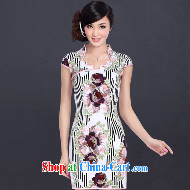 And, in accordance with Chinese landscape paintings dresses short sleeve cheongsam improved retro stylish. cheongsam dress LYE 1313 A XXL suit