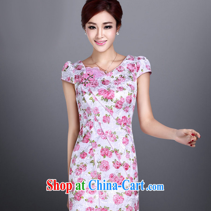 And, in accordance with cheongsam dress, Classic Ladies dresses retro stamp short sleeve cheongsam LYE 1371 pink XXL