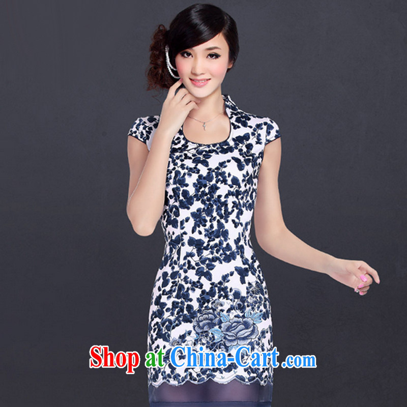 And, in accordance with improved Stylish Girl cheongsam dress retro embroidered sexy beauty cheongsam dress LYE 1355 Blue on white flower XXL