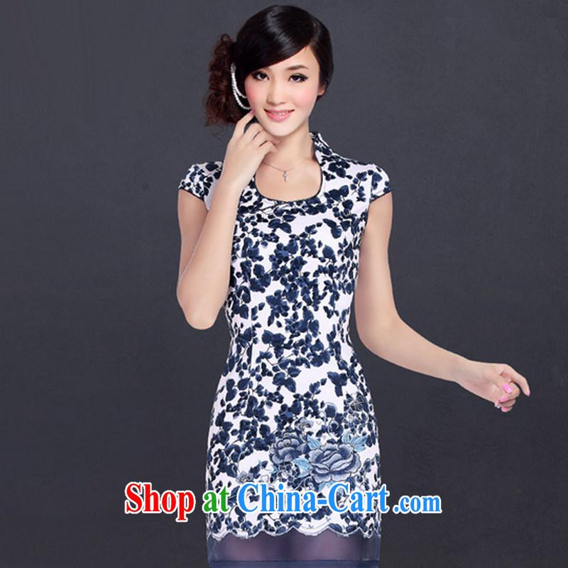 And, in accordance with improved Stylish Girl cheongsam dress retro embroidered sexy beauty cheongsam dress LYE 1355 Blue on white flower XXL
