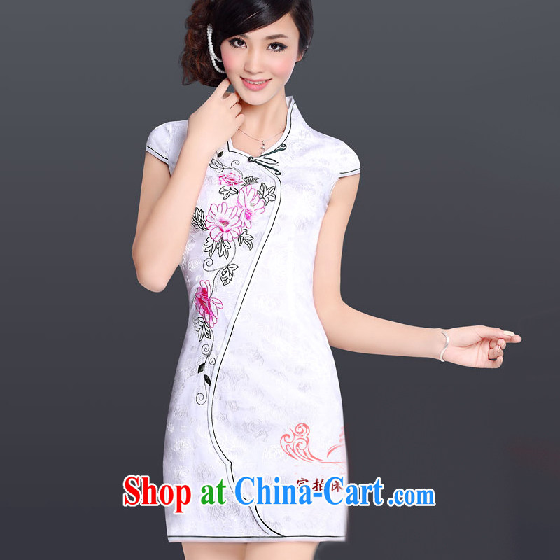And, according to Mr Ronald ARCULLI improved stylish and elegant cheongsam dress Chinese Antique embroidered sexy everyday dresses female LYE 1317 white L