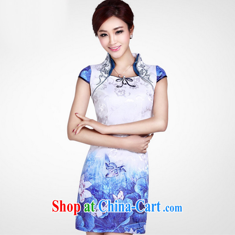 And, in accordance with antique improved cheongsam dress short, cultivating the buckle embroidered classic summer day qipao dresses female LYE 8802 white XXL