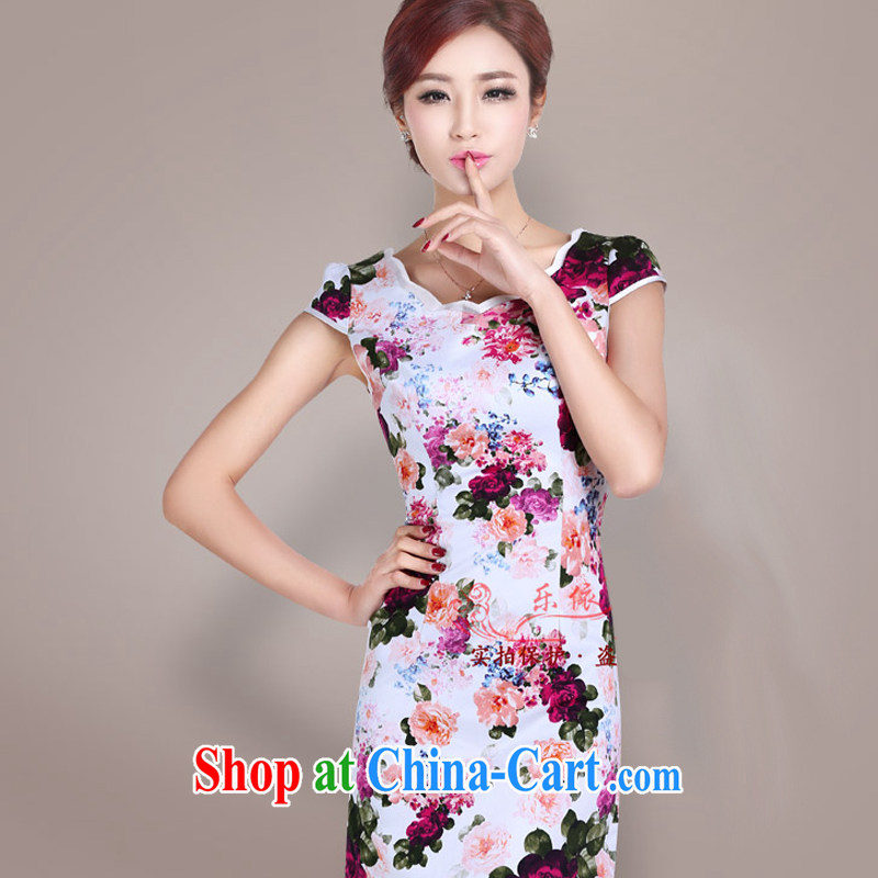 Music in summer short-sleeved dresses girls dresses dresses short retro stamp daily outfit classic and elegant female LYE 1402 red XXL