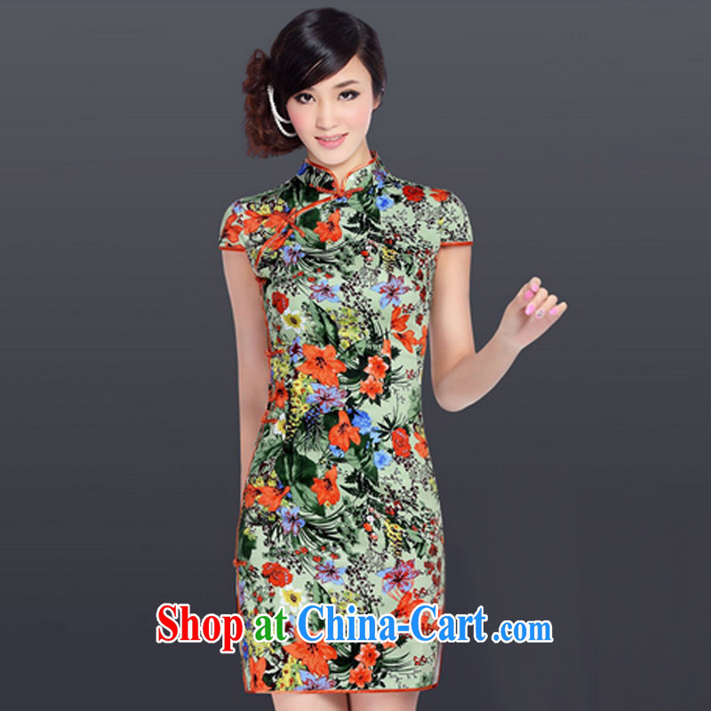 And, in accordance with the adopted improved retro dresses skirt Chinese daily low-power's dress cheongsam dress Ethnic Wind LYE 1601 green XXL