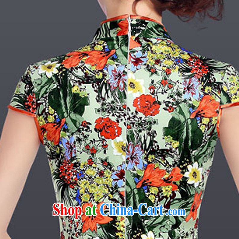 And, in accordance with the adopted improved retro dresses skirt Chinese daily low-power's dress cheongsam dress Ethnic Wind LYE 1601 green XXL, and, in accordance with (leyier), online shopping