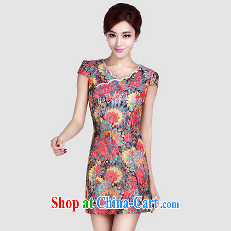 And, in accordance with short-sleeved dresses summer short cheongsam dress female elegant classical lady daily outfit LYE 1370 red XXL