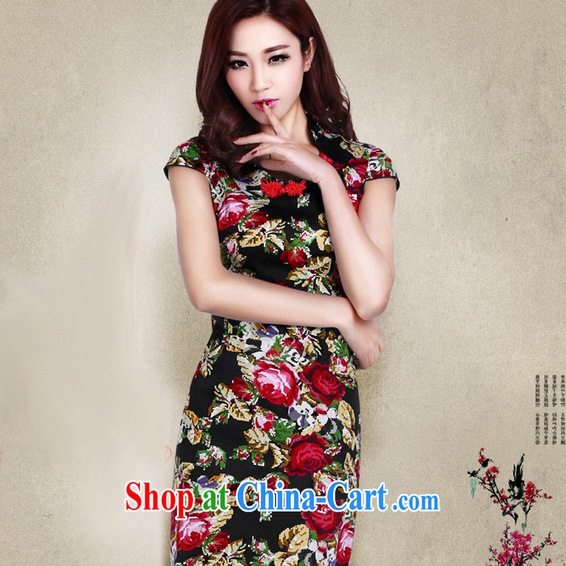 And, according to Mr Ronald ARCULLI is short-sleeved short cheongsam girls retro stamp elegant improved daily female cheongsam dress LYE 1392 black XXL