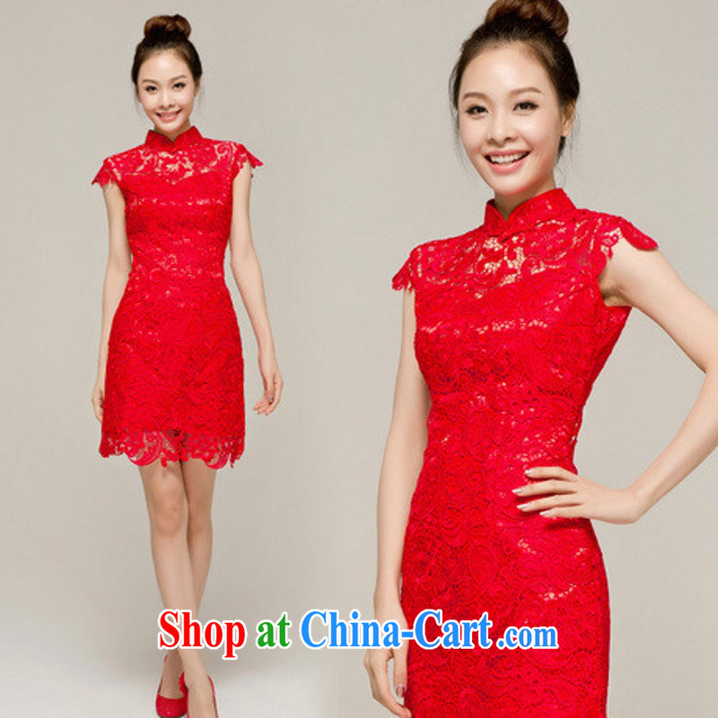 In accordance with the legal marriage dresses 2014 new compact high graphics thin water-soluble lace dress new spring and summer bridal dresses Red. size is not returned.